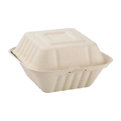 FC542 Fiesta Green Compostable Bagasse Burger Boxes Natural Colour 152mm (Pack of 500)